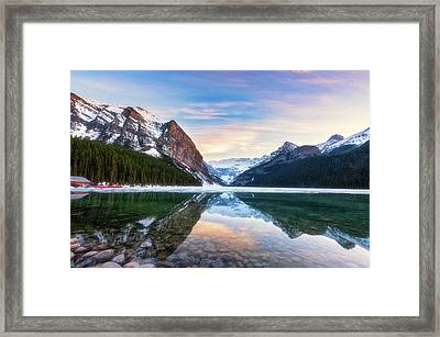 Sunset Lake Louise Framed Print