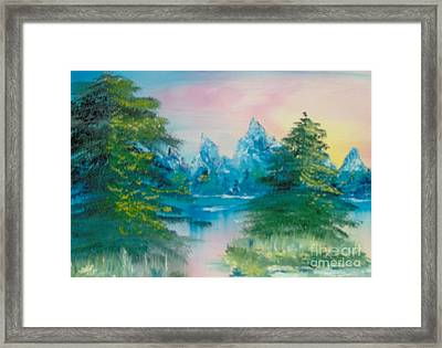 Framed Print featuring the painting Sunset Lake by Saundra Johnson