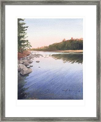 Sunset Lake Watercolor Painting Framed Print by Mike Theuer