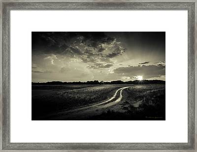 Sunset Lane-bw Framed Print by Marvin Spates