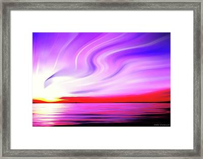 Sunset Light Painting At Edmonds Washington Waterfront Framed Print