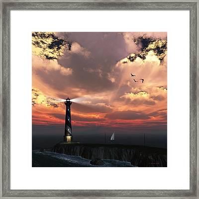 Sunset Lighthouse 2 Framed Print
