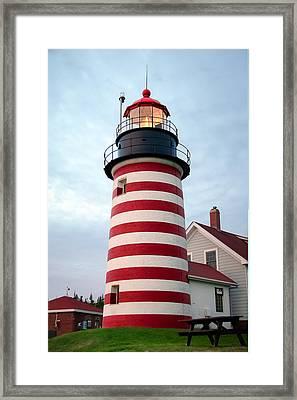 Sunset Lighthouse Framed Print by Brenda Giasson