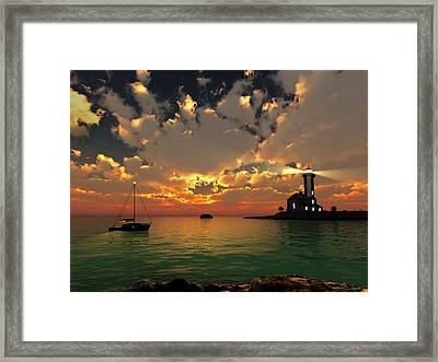 Sunset Lighthouse Framed Print by Jim Coe
