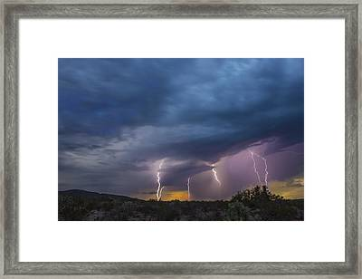 Framed Print featuring the tapestry - textile Sunset Lightning by Kathy Adams Clark