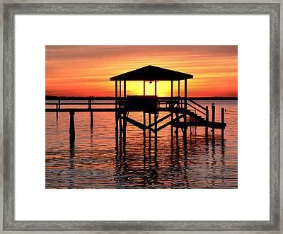Sunset Lit Pier Framed Print