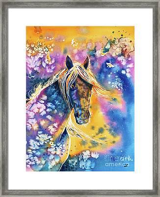 Sunset Mustang Framed Print by Zaira Dzhaubaeva