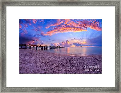 Sunset Naples Pier Florida Framed Print