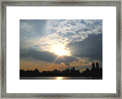 Framed Print featuring the photograph Sunset New York  by Vannetta Ferguson