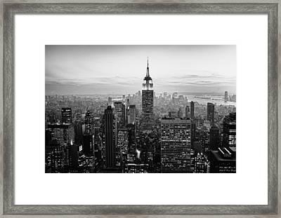 Sunset Of Manhattan Bw Framed Print by Randy Lemoine