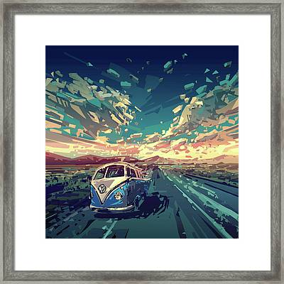 Sunset Oh The Road Framed Print by Bekim Art