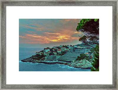 Sunset On Adriatic Sea Near The Croatian Town Of Dubrovnik Framed Print