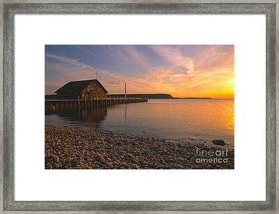 Sunset On Anderson's Dock - Door County Framed Print by Sandra Bronstein