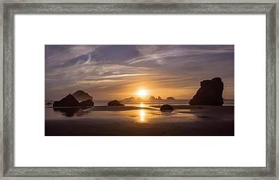 Sunset On Bandon Beach Framed Print