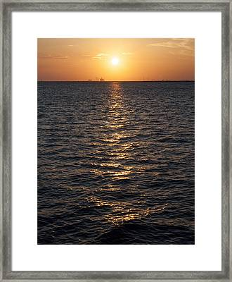 Sunset On Bay Framed Print