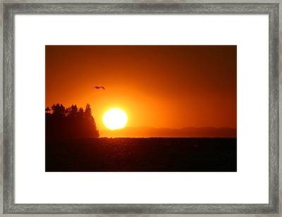 Sunset On Birch Bay Framed Print by Julius Reque