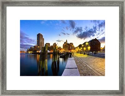 Sunset On Boston's Long Wharf Framed Print
