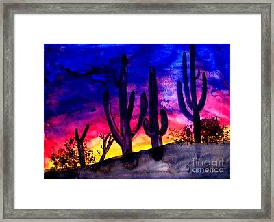 Sunset On Cactus Framed Print by Michael Grubb
