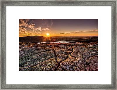 Sunset On Cadillac Mountain Framed Print