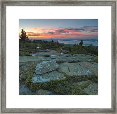 Framed Print featuring the photograph Sunset On Cadillac Mountain by Stephen  Vecchiotti