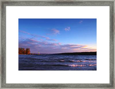 Sunset On Cayuga Lake Ithaca Framed Print by Paul Ge