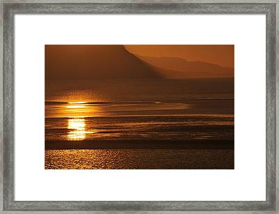 Sunset On Coast Of North Wales Framed Print by Harry Robertson