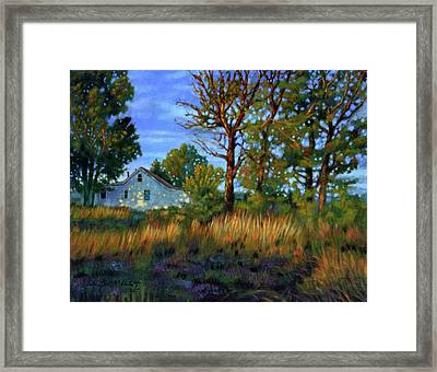 Sunset On Country Home Framed Print by John Lautermilch