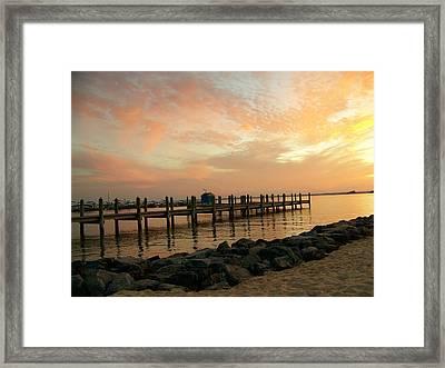Sunset On Dewey Bay Framed Print by Trish Tritz
