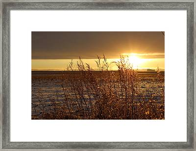 Sunset On Field Framed Print