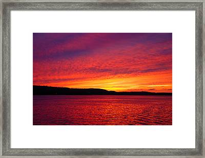 Sunset On Fire Framed Print by Larry Nielson