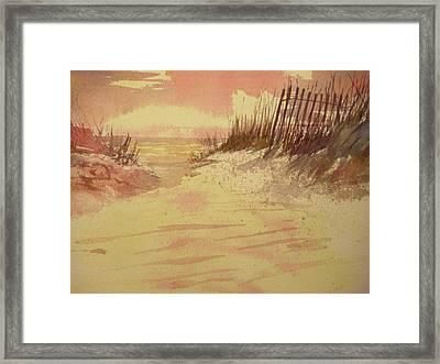 Sunset On  Florida Beach Framed Print by Walt Maes