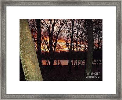 Sunset On Fox River Framed Print by Deborah Finley