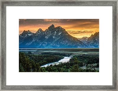 Sunset On Grand Teton And Snake River Framed Print