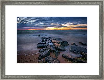Sunset On Great South Bay Framed Print by Rick Berk