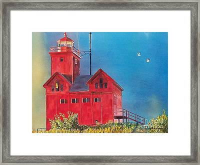Framed Print featuring the painting Sunset On Holland Light by LeAnne Sowa