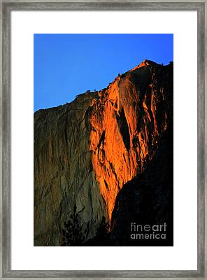 Sunset On Horsetail Fall Framed Print by Jim And Emily Bush