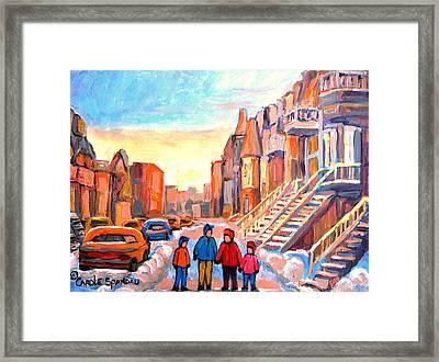 Sunset On Hotel De Ville Street Montreal Framed Print by Carole Spandau