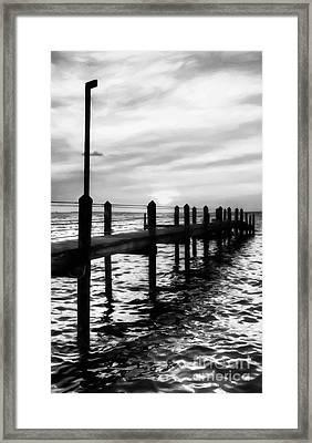 Sunset On Islamorada # 4 Black And White Framed Print by Mel Steinhauer