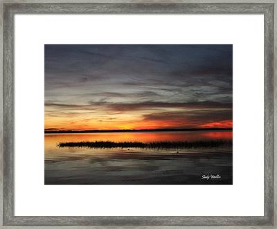Sunset On Lake Lochloosa Framed Print by Judy  Waller