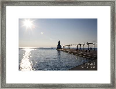 Sunset On Lake Michigan Framed Print