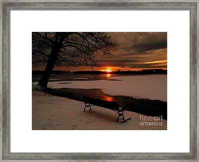 Sunset On Lake Quanapowitt Framed Print