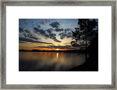 Sunset On Lake Quannapowitt Framed Print