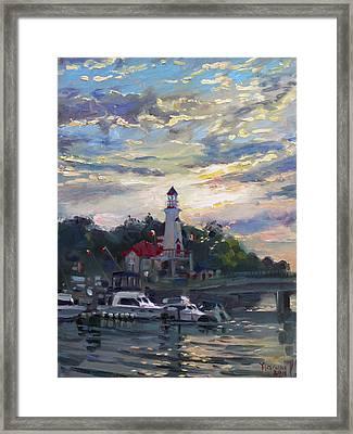 Sunset On Lake Shore Mississauga Framed Print by Ylli Haruni