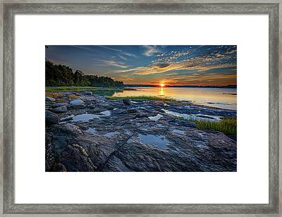 Framed Print featuring the photograph Sunset On Littlejohn Island by Rick Berk