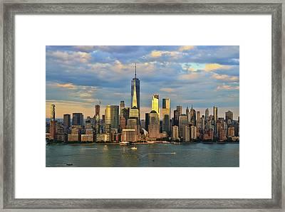 Sunset On Lower Manhattan Framed Print