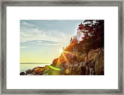Ocean Sunset On Maine's Bass Harbor Lighthouse Framed Print