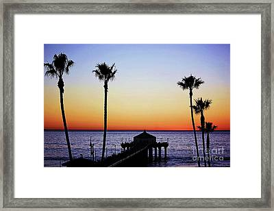 Sunset On Manhattan Beach Pier Framed Print