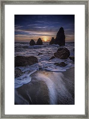 Sunset On Rodeo Beach Framed Print