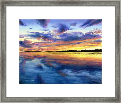 Sunset On Snow Pond Framed Print