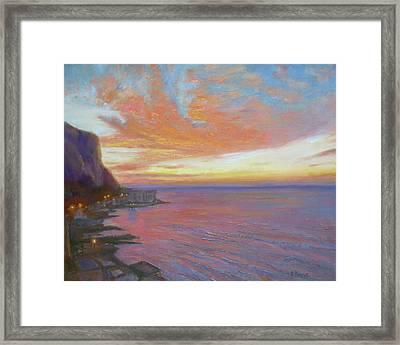 Sunset On The Amalfi Coast Framed Print